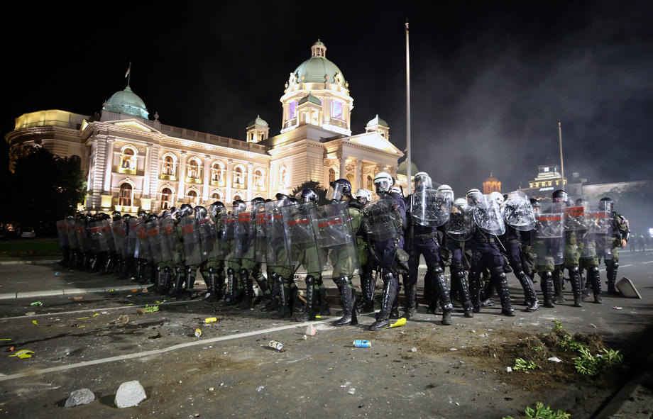 Protesters storm Parliament in Belgrade after new coronavirus restrictions imposed